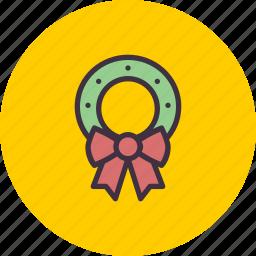 bow, christmas, decoration, easter, leaf, wreath icon