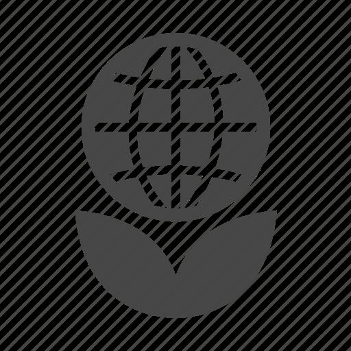 eco, ecology, globe, leaf icon