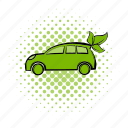 car, comics, eco, ecology, leaves, natural, nature icon