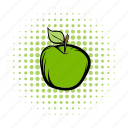 apple, comics, diet, eco, ecology, health, leaf icon