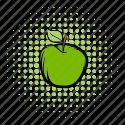 apple, comics, diet, eco, ecology, health, leaf icon