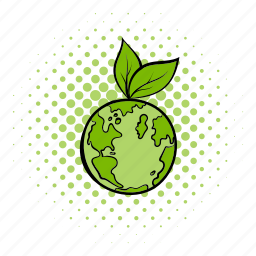 comics, earth, eco, globe, leaf, natural, world icon