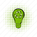 bulb, comics, eco, energy, innovation, lamp, natural icon