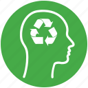 account, business, eco, ecology, female, green, human, ideas, mind, re-use, recycling, renewable, thinking, user icon