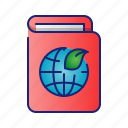book, ecology, go green, leaf, nature icon
