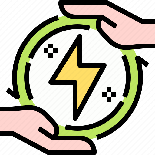 ecology, electronics, energy, hands, power icon