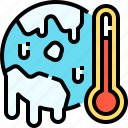 global, planet, thermometer, warming, warning icon