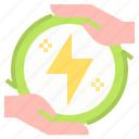ecology, electronics, energy, hands icon