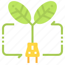 ecology, electric, energy, leaf, power icon
