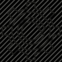 arrow, cog, gear icon
