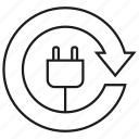 arrow, electricity, energy, plug, reserve, save icon