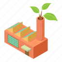 factory, industry, isometric, logo, object, pollution, smoke