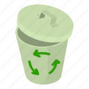bin, computer, file, isometric, logo, object, trash