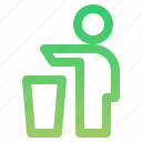 clean, litter, littering, trash can icon