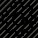 gear, leaf, plant, power icon