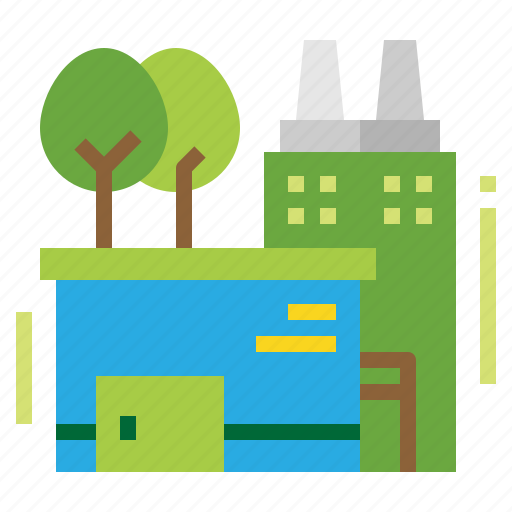 Building, factory, green, industry icon