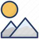 dawn, daybreak, landscape, morning time, sun, sunrise icon