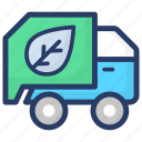 automobile, eco truck, garbage truck, garbage vehicle, recycling garbage truck icon