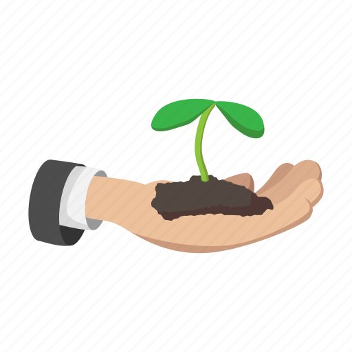 cartoon, grow, growing, hand, plant, sprout, tree icon