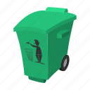 can, cartoon, dump, dust, dustbin, kick, trash icon