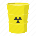 barrel, butt, cartoon, metal, nuclear, roll, vat icon
