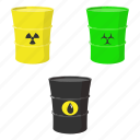 cartoon, chemical, drop, oil, radioactive, set, toxic icon