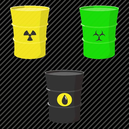 cartoon, chemical, drop, oil, radioactive, set, toxic icon