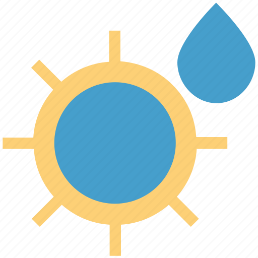 climate, environment, forecast, sun and drop, sun with rain drop, weather icon