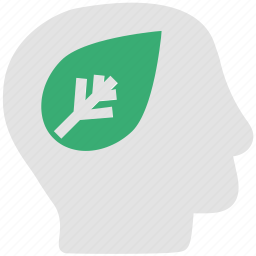biology, concepts, ecosystem, human brain, ideas, leaf, save earth, think green icon