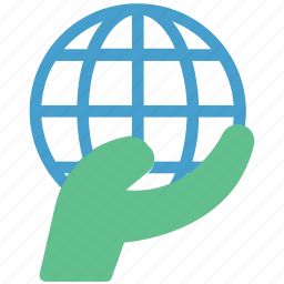 environment, globe in hand, human hand, planet, protection icon