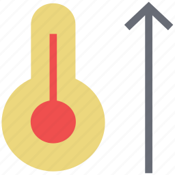 hot, mercury thermometer, temperature, thermometer, up sign icon