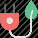alternative energy, plug with leaf, leaf, electric plug, sustainable resources