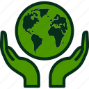 global, care, environmental, hand, green icon