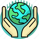 care, earth, ecology, environment, hand, safe, world icon