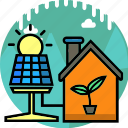 ecology, energy, environment, home, house, light, solar panel icon