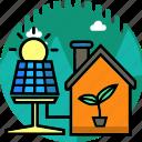 ecology, energy, environment, home, house, light, solar panel icon