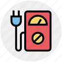eco plug, ecology, environment, machine, meter, power plug, speedometer machine icon