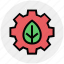 ecology, environment, gear, green, sustainable, technology icon