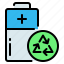 battery, eco, eco battery, ecology, energy, recycle, recycling icon