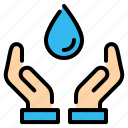 drop, eco, ecology, hand, hands, save, water icon