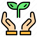 eco, ecology, hand, leaf, leaves, save icon
