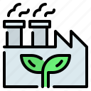 eco, ecology, factory, industry, leaf, plant icon