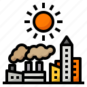 ecology, factory, global, hot, town, warming