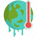 global, thermometer, warming icon