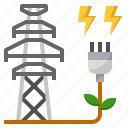 clean, ecology, electricity, power, tower icon