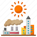 ecology, factory, global, hot, town, warming icon