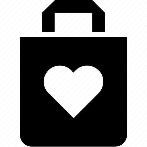 bag, heart, paper, shopping icon