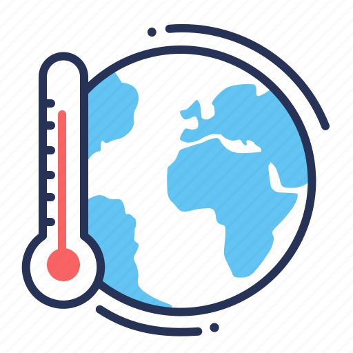earth, global warming, temperature, thermometer icon