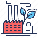 building, earth day, environment, green factory icon
