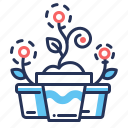ecology, flower pots, growth, sprouts icon